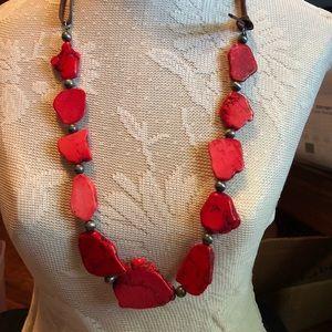 Red slab necklace